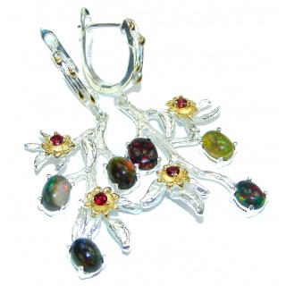 LONGVery Fancy Black Opal Garnet .925 Sterling Silver handcrafted earrings