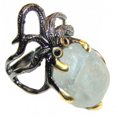 Octopus GENUINE Blue Aquamarine .925 Sterling Silver handmade ring s. 9