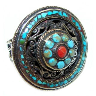 Natural Fossilized Coral & Turquoise .925 Sterling Silver handmade ring s. 10