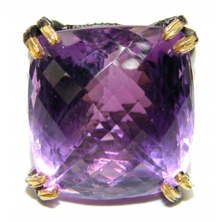 Radiant cut 55ctw Amethyst black rhodium over .925 Sterling Silver brilliantly handcrafted ring s. 9