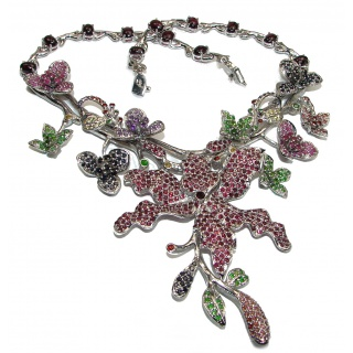 Stella HUGE authentic Kashmir Ruby Emerald Sapphire .925 Sterling Silver handcrafted necklace