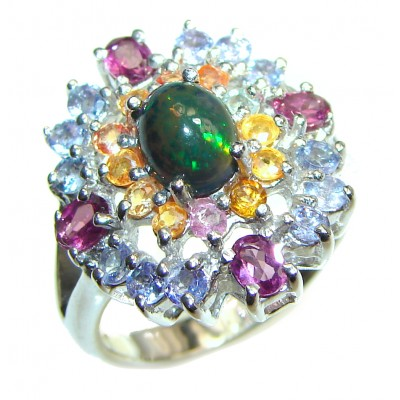 Vintage Design 5ctw Genuine Black Opal Tanzanite .925 Sterling Silver handmade Ring size 9