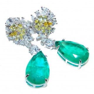 Green Ivy Colombian Emerald .925 Sterling Silver handcrafted Statement Earrings