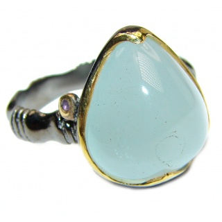 Aquamarine 18k Gold Rhodium over .925 Sterling Silver handcrafted ring size 8 3/4