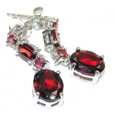 Huge Authentic Garnet .925 Sterling Silver handmade earrings