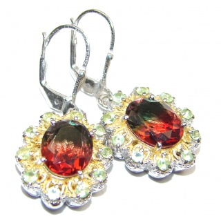Precious Pink Tourmaline 18K Gold over .925 Sterling Silver entirely handmade earrings