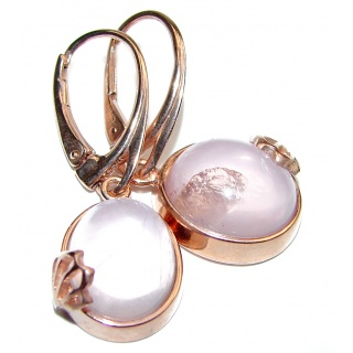 Authentic Juicy Rose Quartz 18K Gold over .925 Sterling Silver handmade earrings