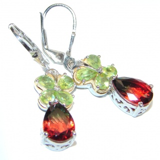 Precious Red Tourmaline .925 Sterling Silver entirely handmade earrings