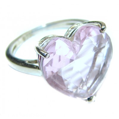 Sweet Heart Pink Topaz .925 Silver handcrafted Ring s. 7 1/2