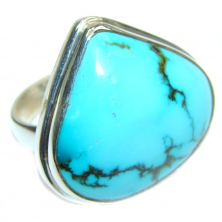 Great quality genuine Turquoise .925 Sterling Silver handcrafted Ring size 8 1/4