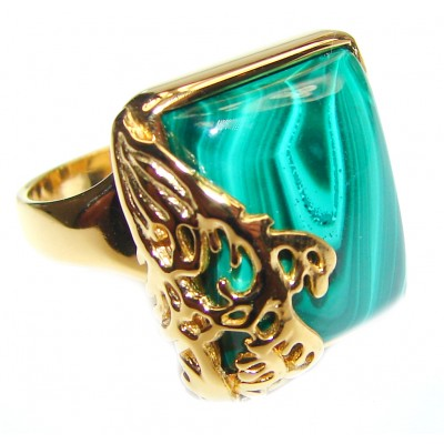 Natural Sublime quality Malachite 14k Gold over .925 Sterling Silver handcrafted ring size 6
