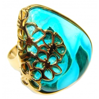 Stone Of Harmony Parrots Wing Chrysocolla 18K Gold over .925 Sterling Silver ring s. 8 1/4