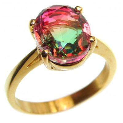 Top Quality Tourmaline 18K Gold over .925 Sterling Silver handcrafted Ring s. 7 1/4