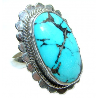 Great quality genuine Turquoise .925 Sterling Silver handcrafted Ring size 6