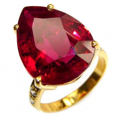 Blood Red glass filled Ruby 18K Gold over .925 Sterling Silver handcrafted Statement Ring size 6 1/4