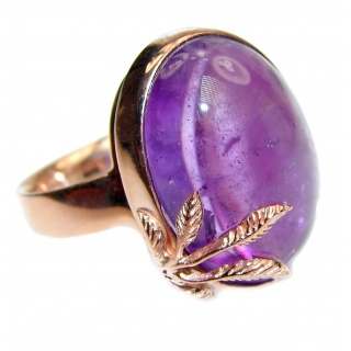 24ctw Purple Perfection Amethyst 18K Rose Gold over .925 Sterling Silver Ring size 8 adjustable