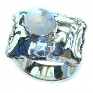 Fire Moonstone .925 Sterling Silver handmade Ring size 6 1/2