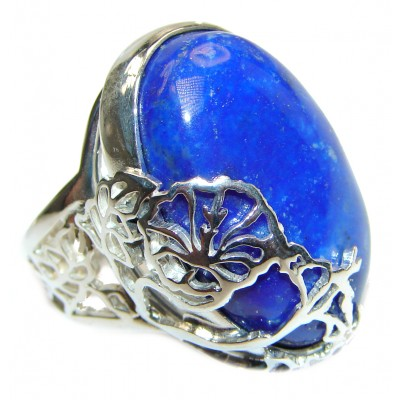 LARGE Natural Lapis Lazuli .925 Sterling Silver handcrafted ring size 8 adjustable