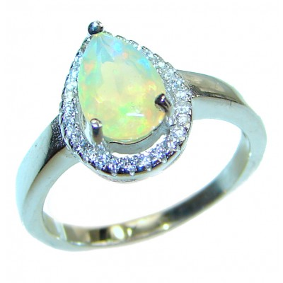 Vintage Design 2.5ctw Genuine Ethiopian Opal .925 Sterling Silver handmade Ring size 7 1/4