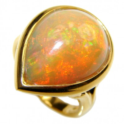 Spectacular 28.4ct Ethiopian Opal 18k yellow Gold over .925 Sterling Silver handcrafted ring size 6