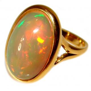 One-of-a-kind 29ct Ethiopian Opal 18k yellow Gold over .925 Sterling Silver handcrafted ring size 8