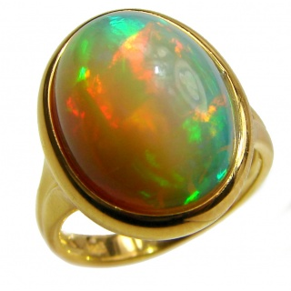 One-of-a-kind 27ct Ethiopian Opal 18k yellow Gold over .925 Sterling Silver handcrafted ring size 7 1/2
