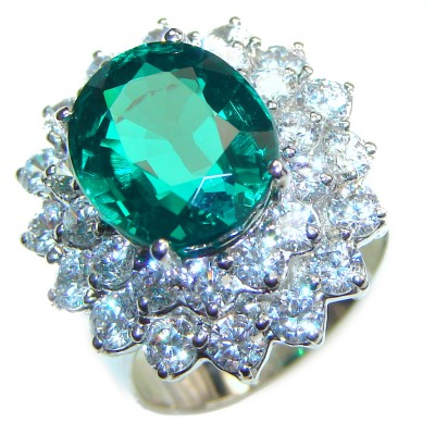 Genuine 2.9ct Chrome Diopside .925 Sterling Silver handcrafted Statement Ring size 5 1/4