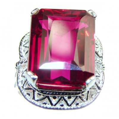 Large 24.5ctw glass filled Ruby .925 Sterling Silver handcrafted Statement Ring size 6 1/4