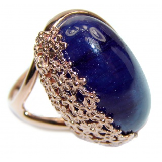 Genuine 27.3ctw Sapphire rose Gold over .925 Sterling Silver handcrafted Statement Ring size 8