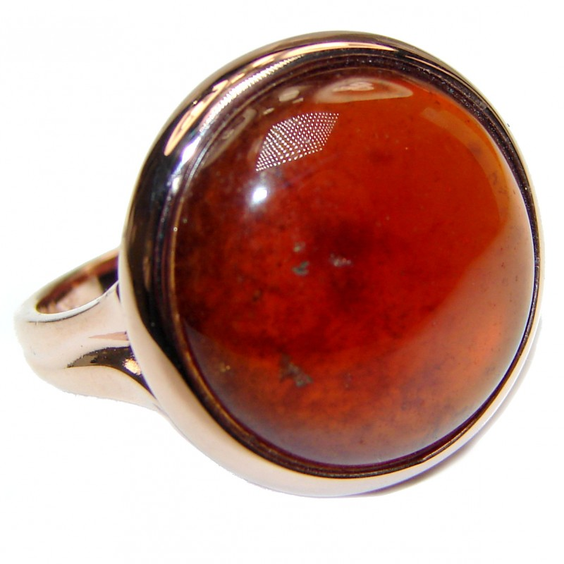 Genuine Garnet 18K Rose Gold over .925 Sterling Silver handmade Cocktail Ring s. 7