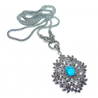 Chic 28 inches Turquoise Marcasite .925 Sterling Silver Large statement necklace
