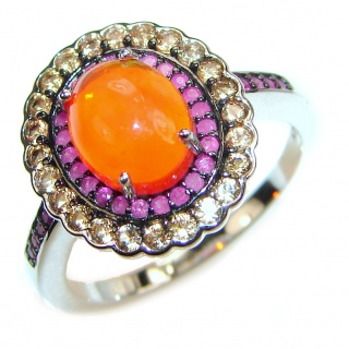 Perfection Genuine Mexican Opal .925 Sterling Silver handmade Ring size 8