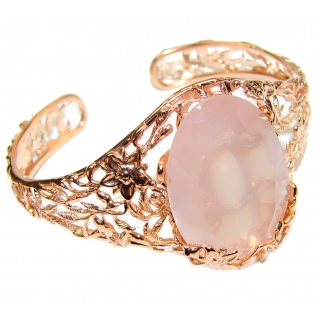Incredible Genuine 70CTW Rose Quartz Rose quartz .925 Sterling Silver handcrafted Bracelet / Cuff