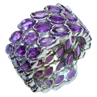 Fabulous natural Amethyst & .925 Sterling Silver handcrafted ring size 7