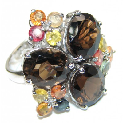 Very Bold Champagne Smoky Topaz .925 Sterling Silver Ring size 8 1/2