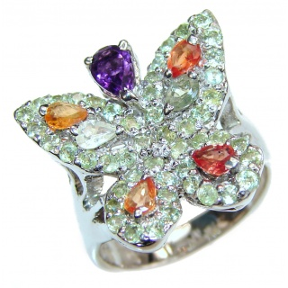 Sublime Butterfly Multigem .925 Sterling Silver handmade Ring s. 8 1/4