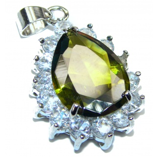 Victorian Style Created gren topaz & White Topaz Sterling Silver Pendant
