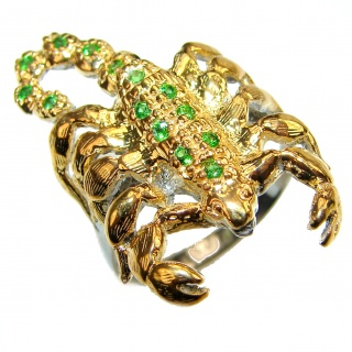 Scorpio Authentic Emerald 14k Gold over .925 Sterling Silver Statement ring size 8 3/4