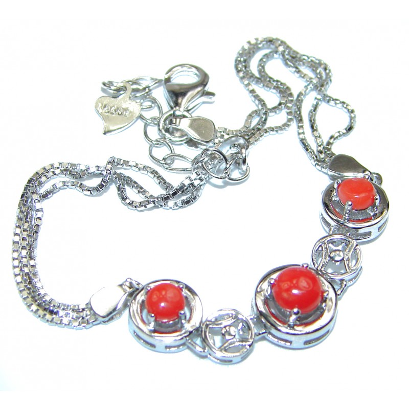 Precious Red Fossilized Coral .925 Sterling Silver handcrafted Bracelet