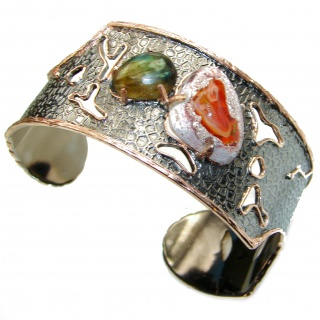 Enchanted Forest Mexican Opal Rose 14K Gold Rhodium over .925 Sterling Silver Bracelet / Cuff