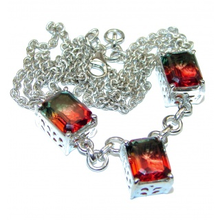 Emerald cut Green & Red Tourmaline color Topaz .925 Sterling Silver handcrafted necklace