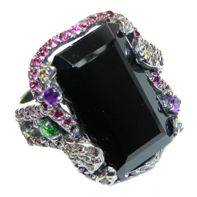 Huge Flower Black Onyx & White Topaz .925 Sterling Silver handcrafted ring; s. 9