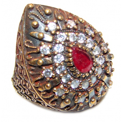 Large Victorian Style created Ruby & White Topaz Sterling Silver ring; s. 5 1/2