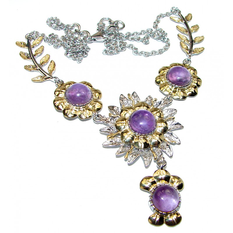 Great genuine Amethyst 18K Gold over .925 Sterling Silver handmade Necklace