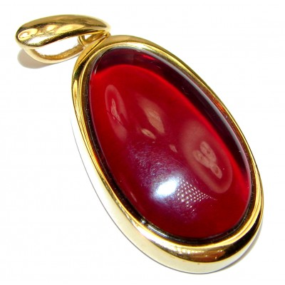 Cherry natural Baltic Amber 18K Gold over .925 Sterling Silver handmade Pendant