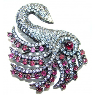 Magic Swan Ruby White Topaz black rhodium over .925 Sterling Silver Pendant/ Brooch