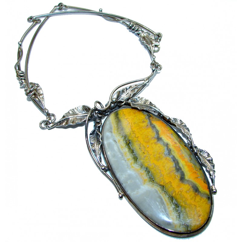 Huge Bohemian Style natural Bumble Bee Jasper .925 Silver handmade Necklace
