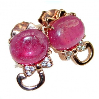 Incredible Authentic Ruby 12mm .925 Sterling Silver handmade earrings