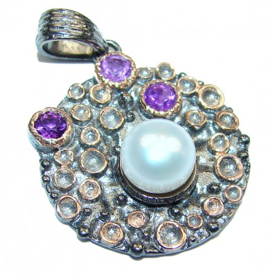 Prosperity and Fortune Amethyst & Pearl .925 Sterling Silver Bali Handcrafted pendant