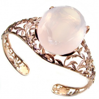 Incredible Genuine 77CTW Rose Quartz Rose quartz .925 Sterling Silver handcrafted Bracelet / Cuff